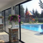 DuraScreens retractable screens - poolside